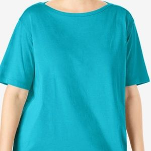 WOMAN WITHIN boat neck tee 1x in turquoise
